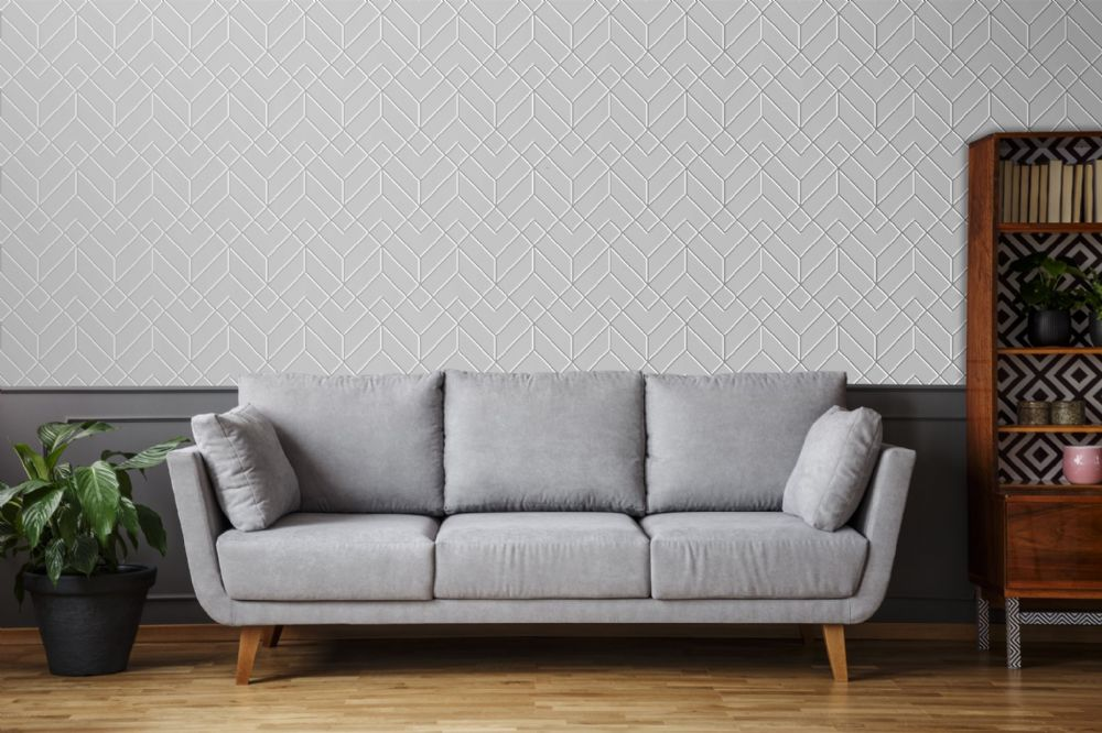 Graham and Brown Losanges Filaires Silver 106155 Wallpaper PB